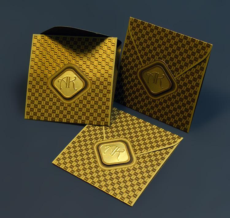 конверт-приглашение из дизайнерской золотой бумаги